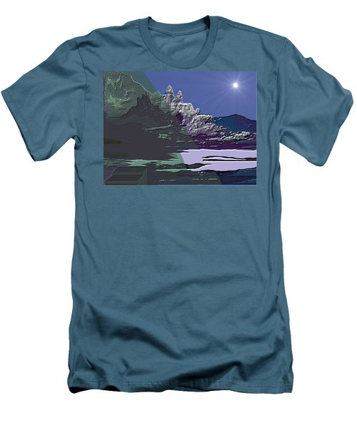 Men's T-Shirt (Slim Fit) featuring the digital art 1978 - Nowhere  by Irmgard Schoendorf Welch
