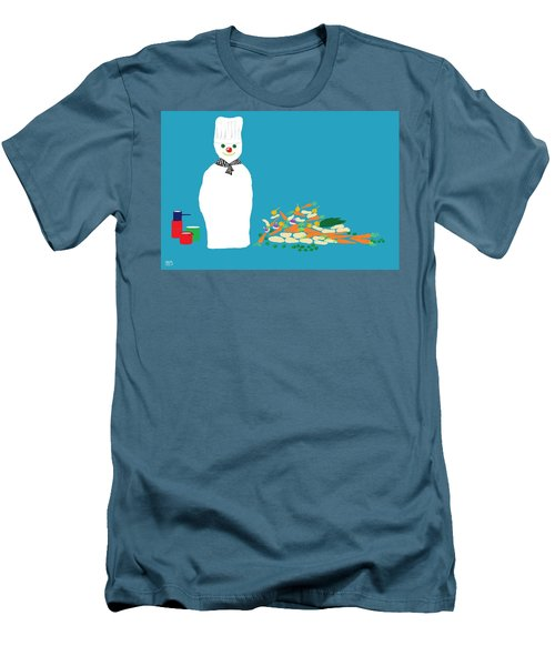 Chef Snowman Men's T-Shirt (Slim Fit) by Barbara Moignard