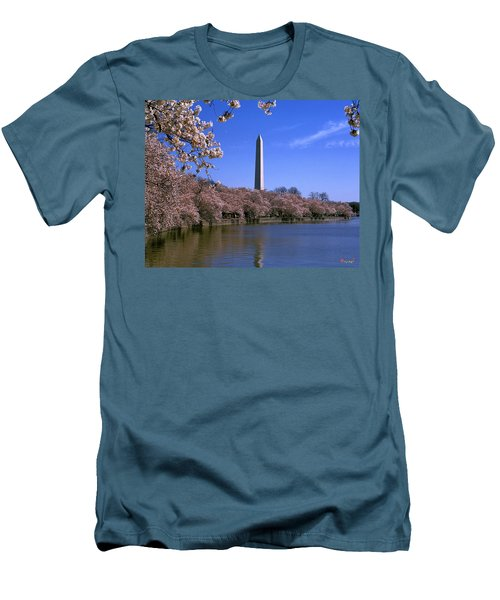 Men's T-Shirt (Slim Fit) featuring the photograph Cherry Blossoms On The Tidal Basin 15j by Gerry Gantt