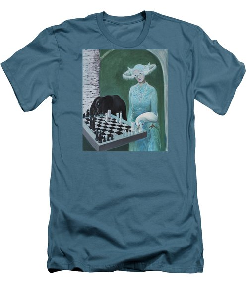 Chess - The Queen Waits Men's T-Shirt (Slim Fit) by Tone Aanderaa