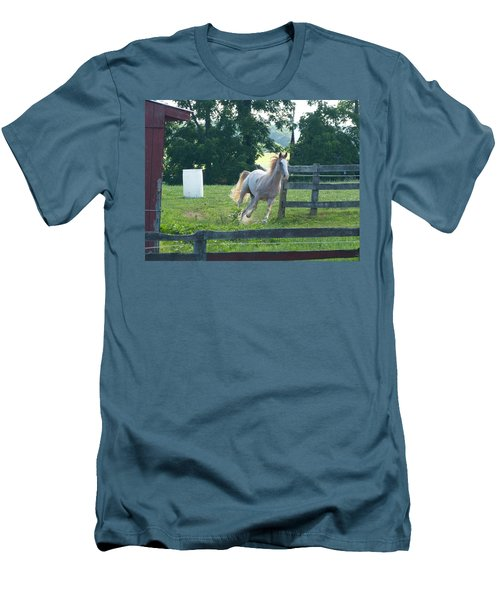 Chester On The Run Men's T-Shirt (Slim Fit) by Donald C Morgan