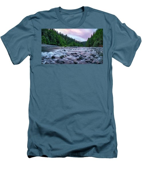 Men's T-Shirt (Slim Fit) featuring the photograph Chetco River Sunset 2 by Leland D Howard