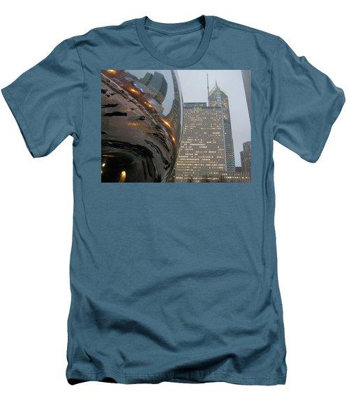 Men's T-Shirt (Slim Fit) featuring the photograph Chicago Cloud Gate. Reflections by Ausra Huntington nee Paulauskaite