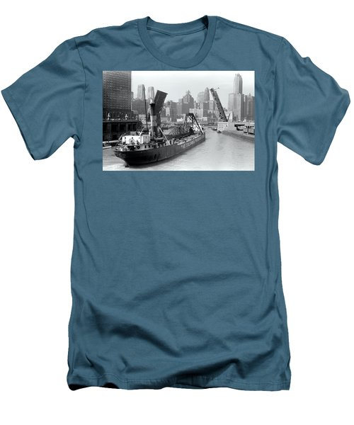 Men's T-Shirt (Slim Fit) featuring the photograph Chicago Draw Bridge 1941 by Daniel Hagerman
