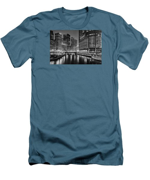 Chicago River View At Night Men's T-Shirt (Slim Fit) by Andrew Soundarajan