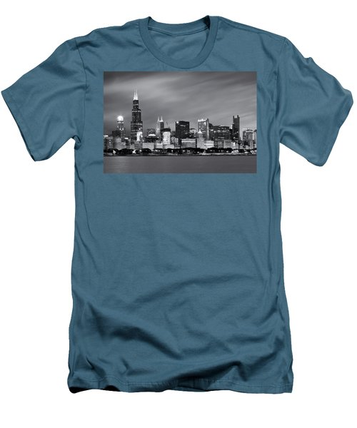 Chicago Skyline At Night Black And White  Men's T-Shirt (Slim Fit) by Adam Romanowicz