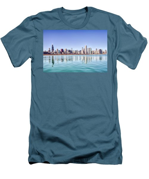 Chicago Skyline Reflecting In Lake Michigan Men's T-Shirt (Slim Fit) by Peter Ciro