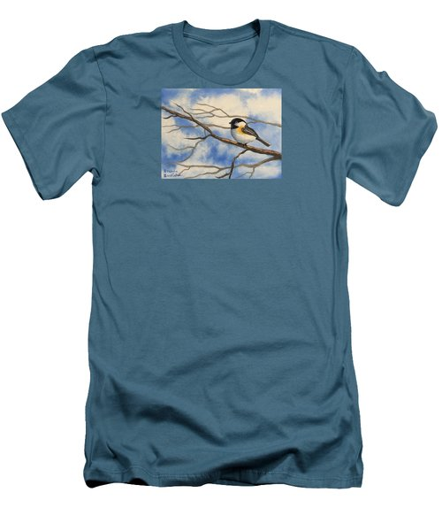 Chickadee On Branch Men's T-Shirt (Slim Fit) by Brenda Bonfield