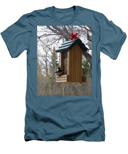 Men's T-Shirt (Slim Fit) featuring the photograph Chickadee by Wendy Shoults