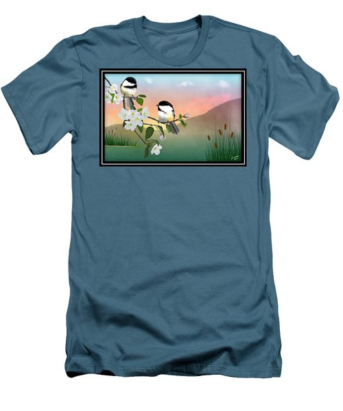 Chickadees And Apple Blossoms Men's T-Shirt (Athletic Fit)