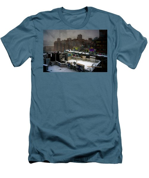Men's T-Shirt (Athletic Fit) featuring the photograph Chinatown Rooftops In Winter by Chris Lord