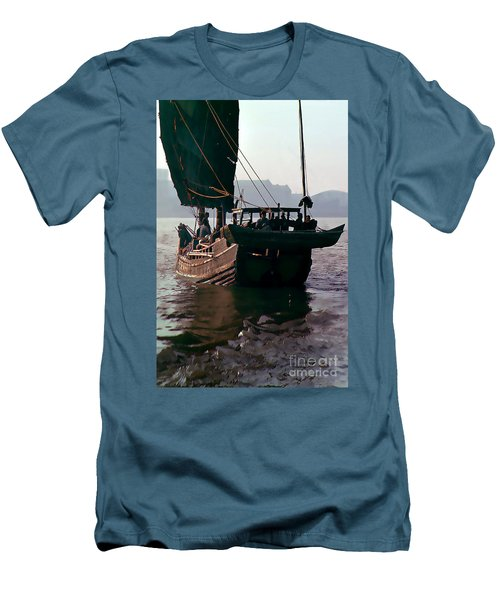 Chinese Junk Afloat In Shanghai Men's T-Shirt (Slim Fit) by Wernher Krutein