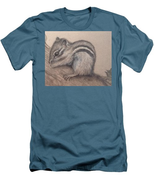 Chipmunk, Tn Wildlife Series Men's T-Shirt (Slim Fit) by Annamarie Sidella-Felts
