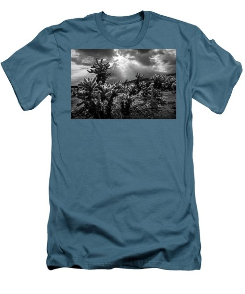 Men's T-Shirt (Slim Fit) featuring the photograph Cholla Cactus Garden Bathed In Sunlight In Black And White by Randall Nyhof