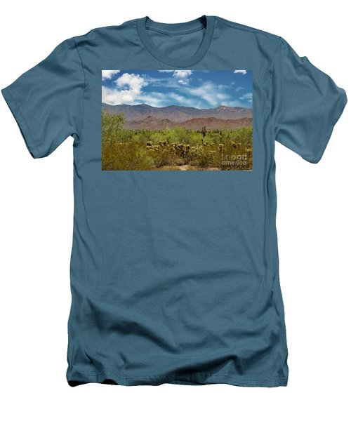 Cholla Saguaro And The Mountains Men's T-Shirt (Slim Fit) by Anne Rodkin