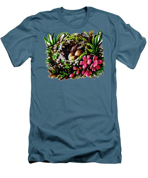 Christmas Birds Nest Painting Men's T-Shirt (Athletic Fit)