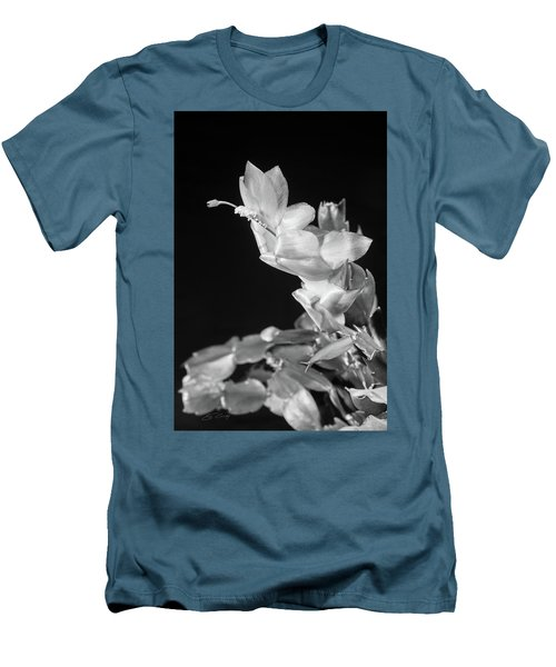 Christmas Cactus On Black Men's T-Shirt (Slim Fit) by Ed Cilley