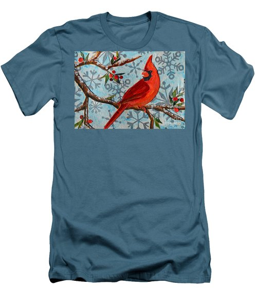 Men's T-Shirt (Slim Fit) featuring the mixed media Christmas Cardinal by Li Newton