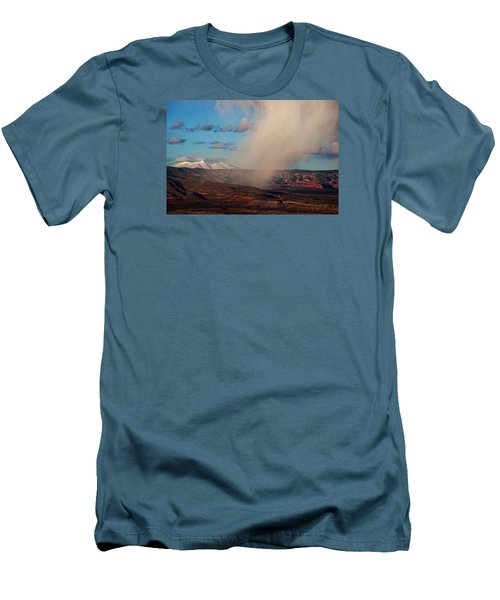 Men's T-Shirt (Slim Fit) featuring the photograph Christmas Day Snow Mix San Francisco Peaks by Ron Chilston
