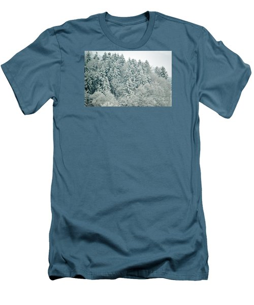 Men's T-Shirt (Slim Fit) featuring the photograph Christmas Forest - Winter In Switzerland by Susanne Van Hulst