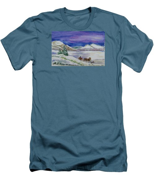 Men's T-Shirt (Slim Fit) featuring the painting Christmas Sleigh by Dawn Senior-Trask