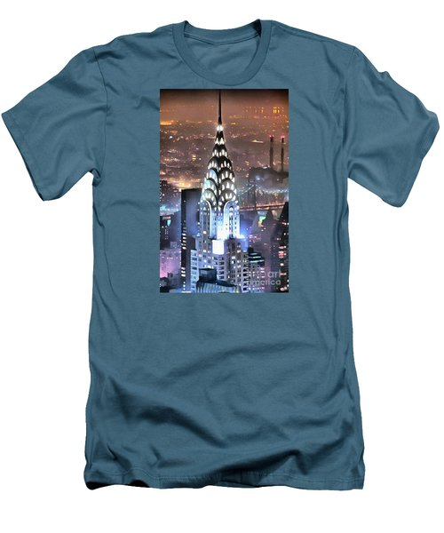 Chrysler Building At Night Men's T-Shirt (Slim Fit) by Mick Flynn