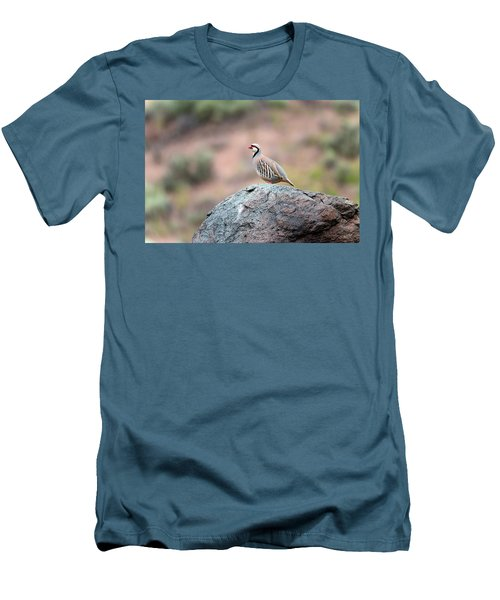 Men's T-Shirt (Slim Fit) featuring the photograph Chukar Partridge 2 by Leland D Howard