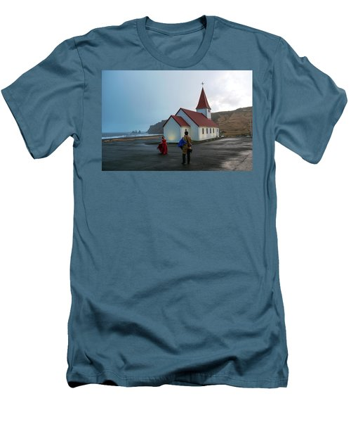 Men's T-Shirt (Athletic Fit) featuring the photograph Church Above Reynisfjara Black Sand Beach, Iceland by Dubi Roman