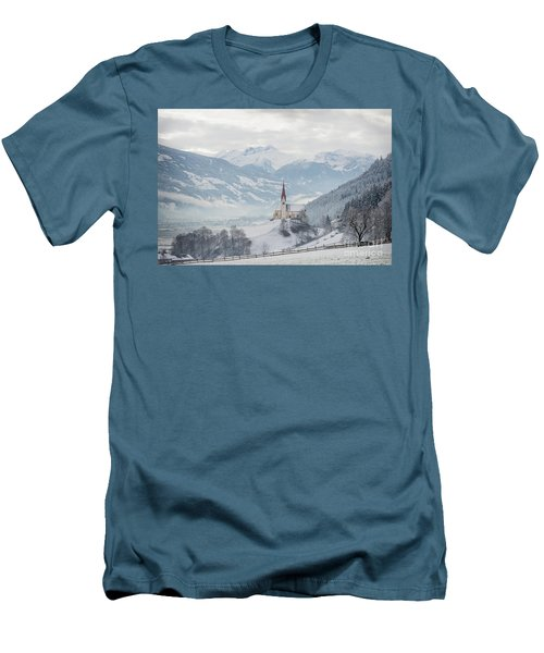 Church In Alpine Zillertal Valley In Winter Men's T-Shirt (Athletic Fit)