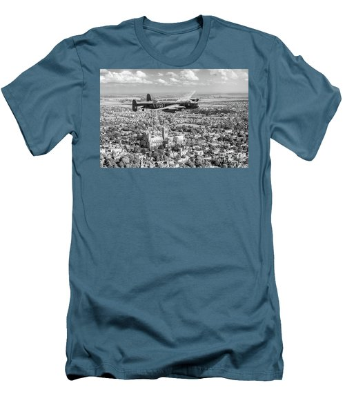 Men's T-Shirt (Athletic Fit) featuring the photograph City Of Lincoln Vn-t Over The City Of Lincoln Bw Version by Gary Eason