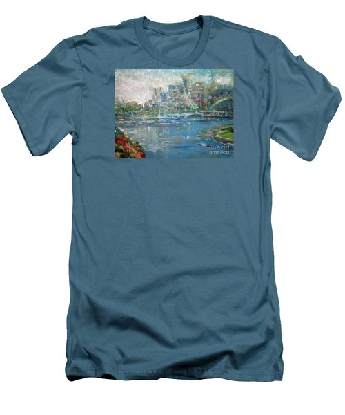 Men's T-Shirt (Slim Fit) featuring the painting City On The Bay by John Fish