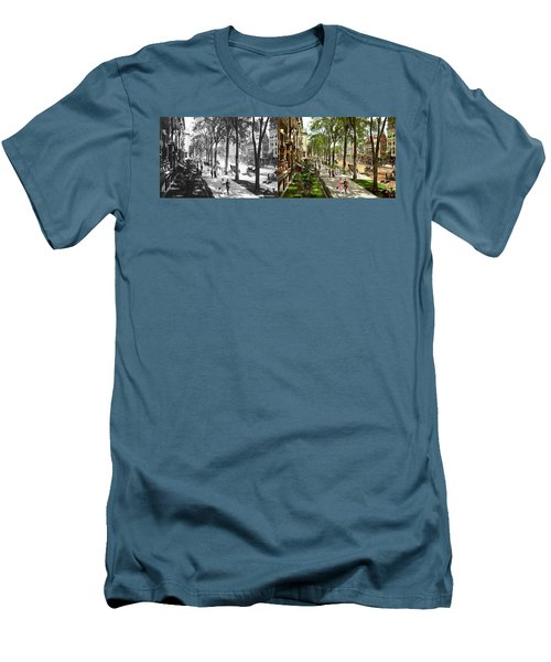 Men's T-Shirt (Slim Fit) featuring the photograph City - Saratoga Ny -  I Would Love To Be On Broadway 1915 - Side By Side by Mike Savad