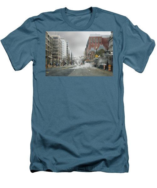 Men's T-Shirt (Slim Fit) featuring the photograph City Street On A Rainy Day by Francesa Miller