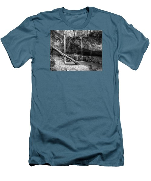Men's T-Shirt (Slim Fit) featuring the photograph Clark Creek Nature Area Waterfall No. 2 In Black And White by Andy Crawford