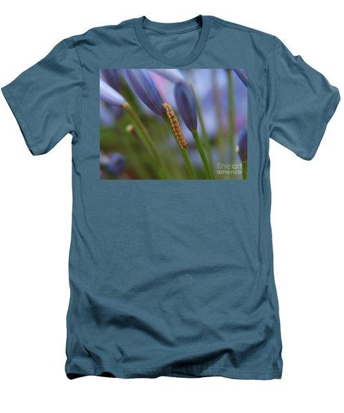 Men's T-Shirt (Slim Fit) featuring the photograph Climbing Caterpillar by Trena Mara