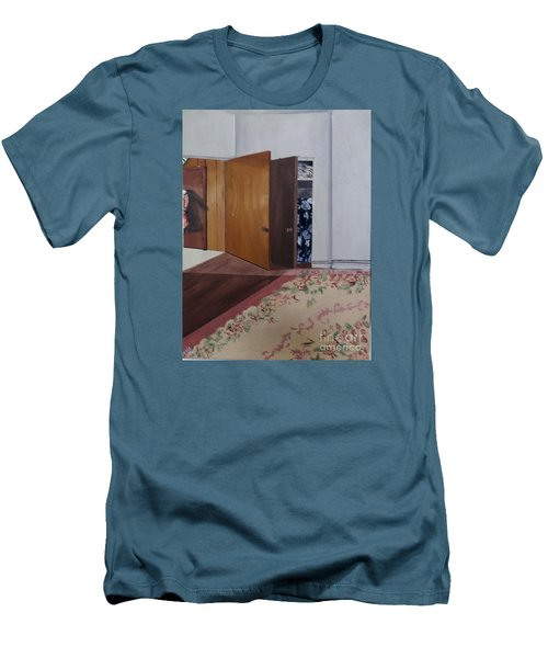 Men's T-Shirt (Slim Fit) featuring the painting Closet Doors by Lyric Lucas