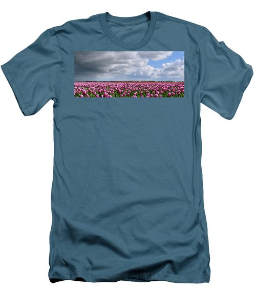 Clouds Over Purple Tulips Men's T-Shirt (Athletic Fit)