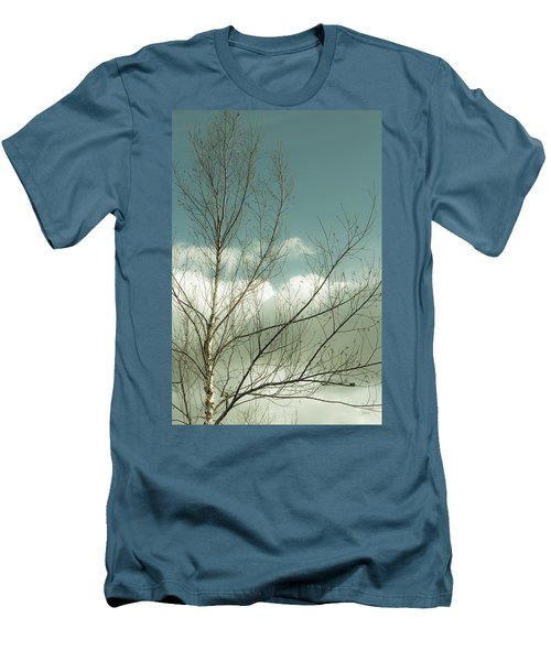 Men's T-Shirt (Slim Fit) featuring the photograph Cloudy Blue Sky Through Tree Top No 1 by Ben and Raisa Gertsberg
