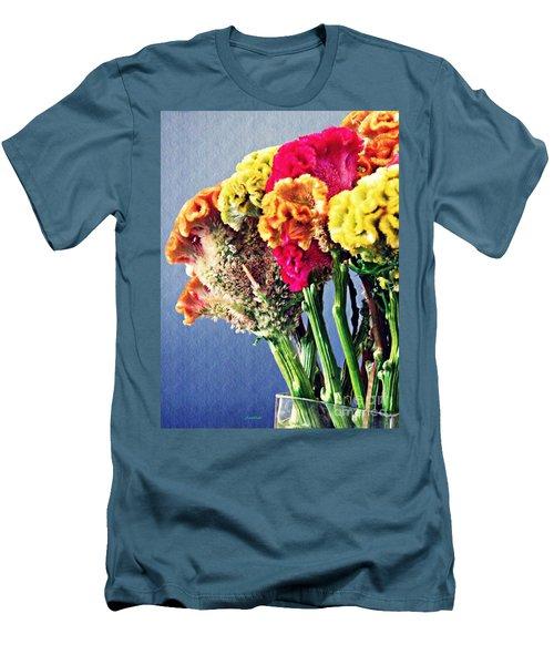 Men's T-Shirt (Slim Fit) featuring the photograph Cockscomb Bouquet 2 by Sarah Loft