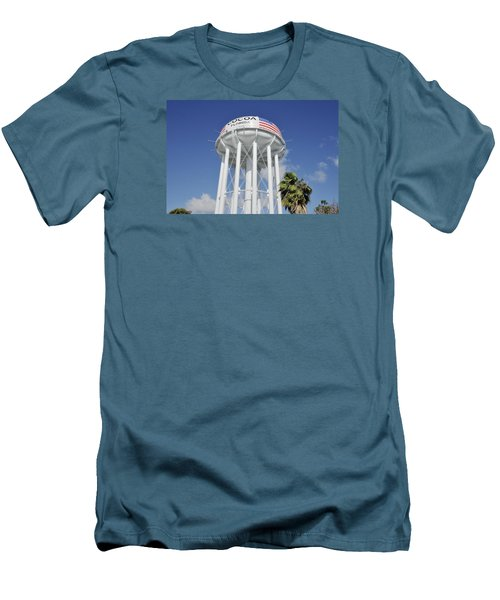 Cocoa Water Tower With American Flag Men's T-Shirt (Slim Fit) by Bradford Martin