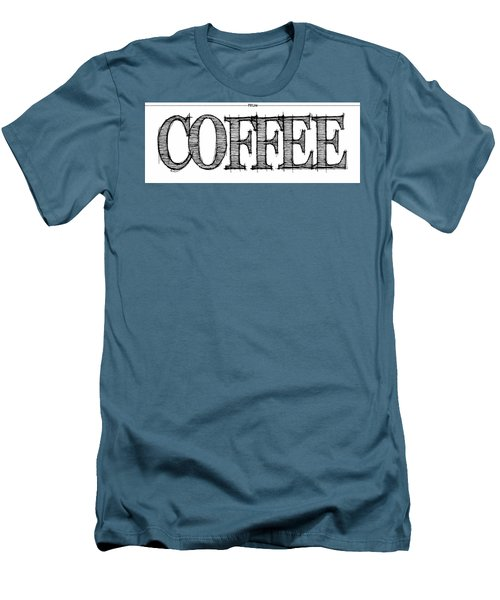 Coffee Fill Line Mug 2 Men's T-Shirt (Slim Fit) by Robert J Sadler