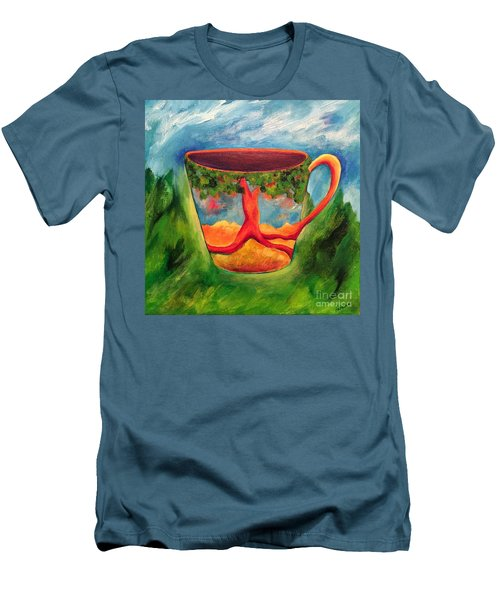 Coffee In The Park Men's T-Shirt (Slim Fit) by Elizabeth Fontaine-Barr