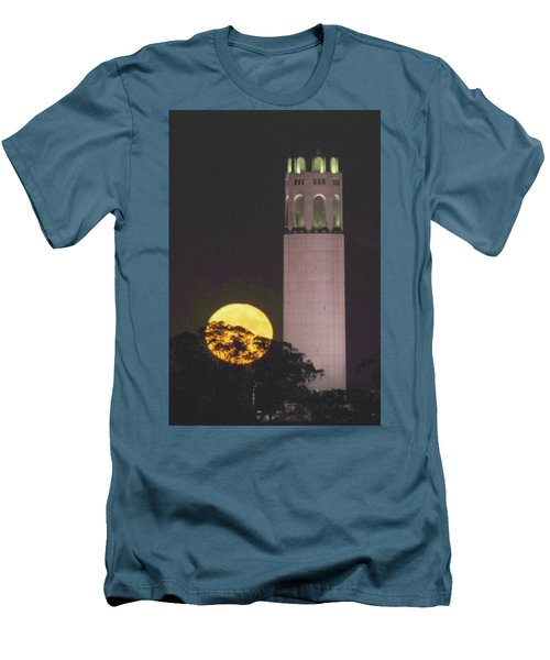 Coit Tower And Harvest Moon Men's T-Shirt (Athletic Fit)