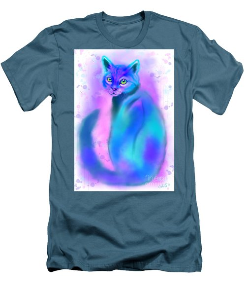 Men's T-Shirt (Slim Fit) featuring the painting Color Wash Cat by Nick Gustafson