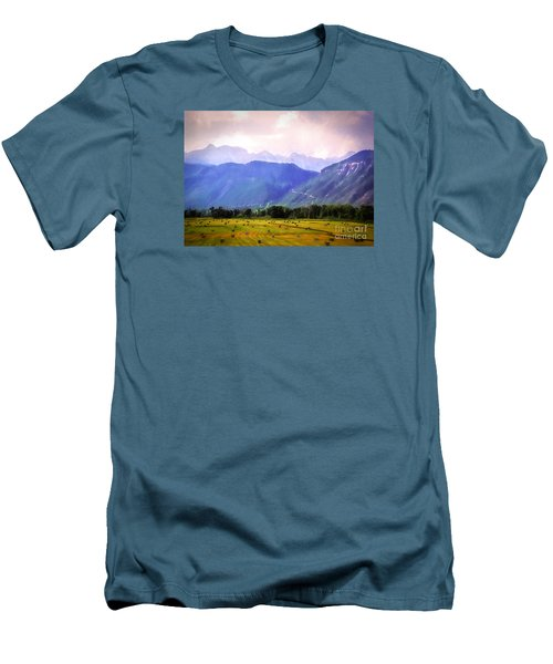 Colorado Harvest Watercolor  Men's T-Shirt (Athletic Fit)