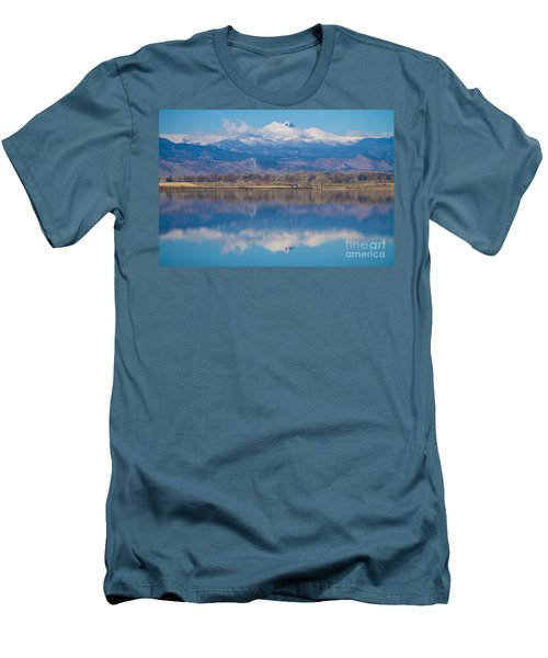 Colorado Longs Peak Circling Clouds Reflection Men's T-Shirt (Slim Fit) by James BO  Insogna