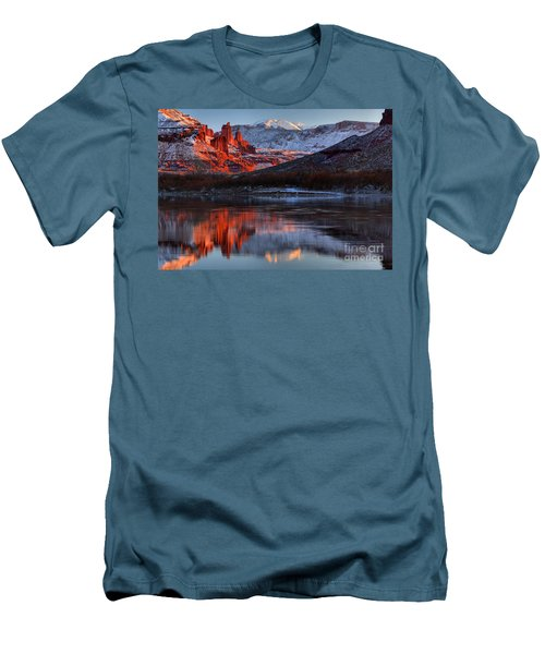 Men's T-Shirt (Slim Fit) featuring the photograph Colorado Red Tower Reflections by Adam Jewell