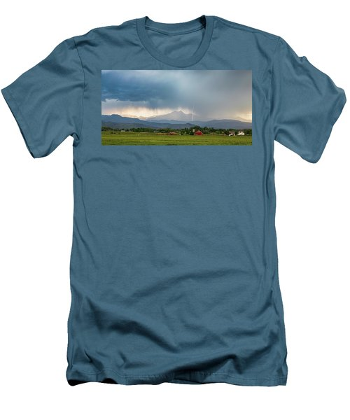 Men's T-Shirt (Slim Fit) featuring the photograph Colorado Rocky Mountain Red Barn Country Storm by James BO Insogna