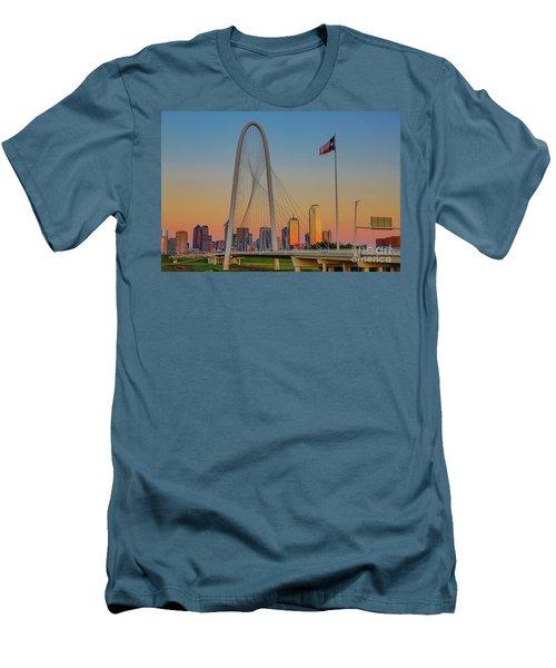 Colorful Dallas Sunset Men's T-Shirt (Slim Fit) by John Roberts