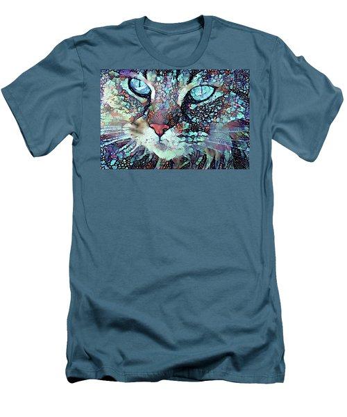 Colorful Flower Cat Art - A Cat Called Blue Men's T-Shirt (Slim Fit) by Peggy Collins